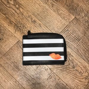 Sephora Black & White Stripe Kiss Zip Card Case